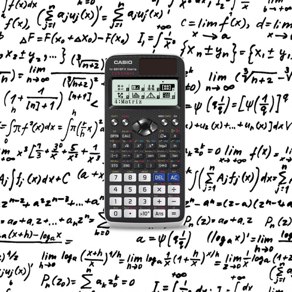 A scientific calculator with a background of handwritten mathematical formulas
