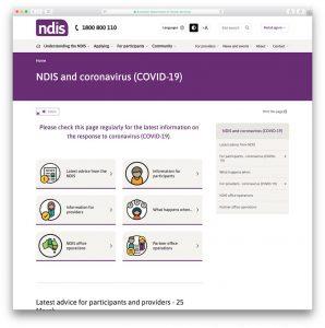 Screenshot of NDIS' Coronavirus page